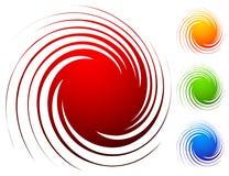 Kleurrijke spiraalvormige reeks Abstracte werveling, de elementen van het draaiontwerp met stock illustratie