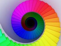 Kleurrijke spiraalvormige trede aan de oneindigheid. Stock Foto