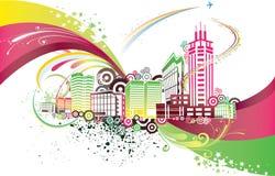 Kleurrijke stad Stock Foto