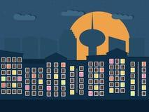 Kleurrijke Stad bij Nacht Flats voor Verkoop/Huur De huizen van onroerende goederen?, Vlakten voor verkoop of voor huur Stock Afbeelding