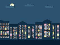 Kleurrijke Stad bij Nachtconcept Royalty-vrije Stock Afbeeldingen