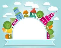 Kleurrijke Stad en Banner Royalty-vrije Stock Afbeelding