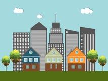 Kleurrijke Stad, Huizen voor Verkoop/Huur De huizen van onroerende goederen?, Vlakten voor verkoop of voor huur Royalty-vrije Stock Fotografie