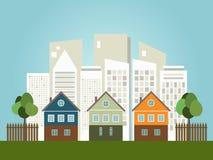 Kleurrijke Stad, Huizen voor Verkoop/Huur De huizen van onroerende goederen?, Vlakten voor verkoop of voor huur Royalty-vrije Stock Foto