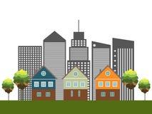 Kleurrijke Stad, Huizen voor Verkoop/Huur De huizen van onroerende goederen?, Vlakten voor verkoop of voor huur stock illustratie