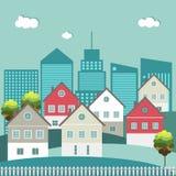 Kleurrijke Stad, Huizen voor Verkoop/Huur De huizen van onroerende goederen?, Vlakten voor verkoop of voor huur royalty-vrije illustratie