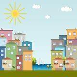 Kleurrijke Stad, Huizen voor Verkoop/Huur De huizen van onroerende goederen?, Vlakten voor verkoop of voor huur Royalty-vrije Stock Afbeelding