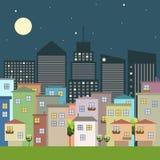Kleurrijke Stad, Huizen voor Verkoop/Huur De huizen van onroerende goederen?, Vlakten voor verkoop of voor huur Stock Afbeeldingen
