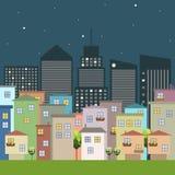 Kleurrijke Stad, Huizen voor Verkoop/Huur De huizen van onroerende goederen?, Vlakten voor verkoop of voor huur vector illustratie