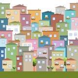 Kleurrijke Stad, Huizen voor Verkoop/Huur De huizen van onroerende goederen?, Vlakten voor verkoop of voor huur Stock Fotografie