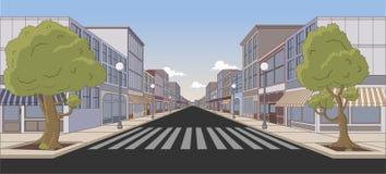 kleurrijke stad met winkels royalty-vrije illustratie