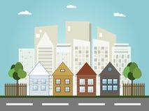 Kleurrijke Stad, Real Estate, Gezond het Leven Concept Stock Foto