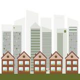 Kleurrijke Stad, Real Estate, Gezond het Leven Concept stock illustratie