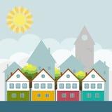 Kleurrijke Stad, Real Estate, Gezond het Leven Concept Royalty-vrije Stock Foto's