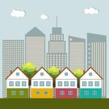 Kleurrijke Stad, Real Estate, Gezond het Leven Concept Stock Afbeelding