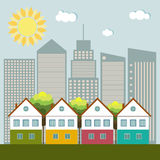 Kleurrijke Stad, Real Estate, Gezond het Leven Concept Stock Afbeeldingen