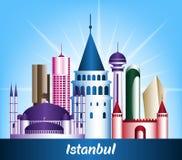 Kleurrijke Stad van de Beroemde Gebouwen van Istanboel Turkije stock illustratie