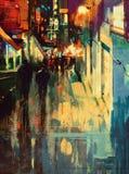 Kleurrijke steeg bij nacht, het digitale schilderen royalty-vrije illustratie