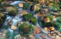 Kleurrijke stenen met groen mos in bergrivier Vaag water royalty-vrije stock foto's
