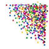 Kleurrijke ster gevormde confettien. vakantieachtergrond Stock Foto's