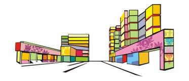 Kleurrijke straat Royalty-vrije Stock Afbeeldingen