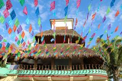 Kleurrijke straat in Sayulita Nayarit stock foto