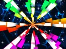 Kleurrijke Stralen Achtergrondmiddelensterren en Hexagonaal Stock Afbeeldingen