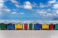 Kleurrijke Strandhuizen in Cape Town royalty-vrije stock foto