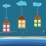 Kleurrijke Strandhuizen voor Huur/Verkoop Concept 6 van onroerende goederen Stock Foto