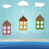 Kleurrijke Strandhuizen voor Verkoop/Huur De huizen van onroerende goederen?, Vlakten voor verkoop of voor huur vector illustratie