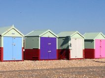 Kleurrijke strandhutten Stock Foto