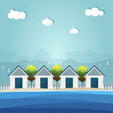 Kleurrijke Strandhutten, Abstracte Horizonnenachtergrond vector illustratie