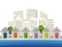 Kleurrijke Strandhutten, Abstracte Horizonnenachtergrond Stock Afbeeldingen