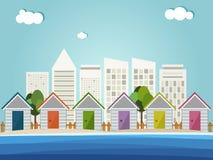 Kleurrijke Strandhutten, Abstracte Horizonnenachtergrond Stock Afbeelding