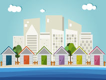 Kleurrijke Strandhutten, Horizonnenachtergrond Stock Foto's