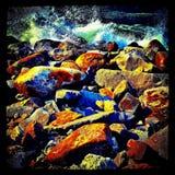 Kleurrijke strandrotsen Royalty-vrije Stock Afbeelding