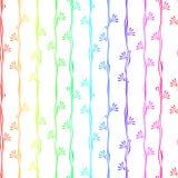 Kleurrijke strepen met bloemen naadloze achtergrond Stock Fotografie