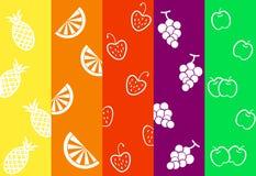 Kleurrijke stroken met vruchten, illustraties Stock Afbeelding