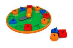 Kleurrijke stuk speelgoed klok het 3d teruggeven Stock Foto