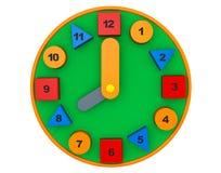 Kleurrijke stuk speelgoed klok het 3d teruggeven Stock Fotografie