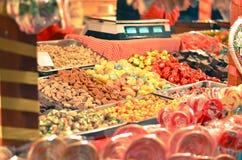 Kleurrijke suikergoed en gelei als achtergrond stock fotografie