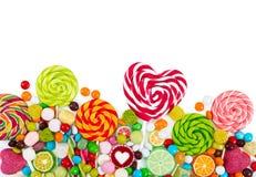 Kleurrijke suikergoed en lollys Hoogste mening stock foto's