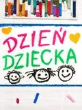 Kleurrijke tekening: De Poolse kaart van de Kinderen` s dag Stock Foto's