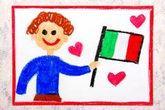 Kleurrijke tekening: Gelukkige mens die Italiaanse vlag houden Vlag van Italië royalty-vrije stock afbeelding