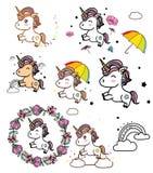 Kleurrijke tekening met eenhoorns Stock Afbeelding