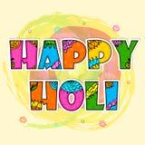 Kleurrijke tekst voor Gelukkige Holi-viering Stock Afbeeldingen