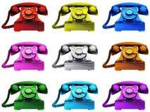 Kleurrijke Telefoons Royalty-vrije Stock Afbeeldingen