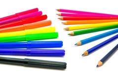 Kleurrijke tellers en potloden Royalty-vrije Stock Foto