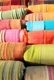 Kleurrijke textielstoffen stock afbeelding