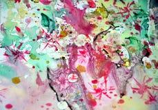 Kleurrijke tinten van waterverf de wasachtige groene gebrande roze gele vage wasachtige gouden vlekken, slagen van borstel, backg royalty-vrije stock foto's